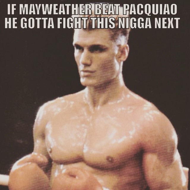 MAYWEATHER gone end up looking like Apollo Creed #MAYWEATHER #Pacquiao #MayPac #May2 #lasVegas #Rocky #Boxing #tmt #tme #teammayweather #teampacquiao #prizefight