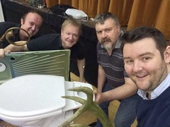 Before a workshop in Galashiels with Stuart Black, Alan Fernie , and Les  Niesh. Everything including the Kitchen sink!!!
