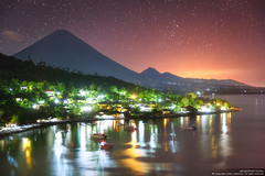Watercolor night (Anton Jankovoy (www.jankovoy.com)) Tags: indonesia bali asia travel night stars sea reflection beach boats landscape ocean sky volcano agung amed