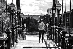 bridge (Berkan Byktmbk) Tags: street streetphotography streetphoto fujifilm xt1 bw blackandwhite monochrome bridge woman walking lamb sky outdoor human