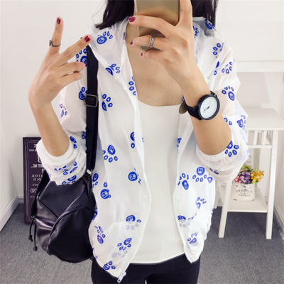 2016 Summer new slim hooded anti-Sai coat woman long sleeve Sun shirt loose slim Joker air conditioning shirt