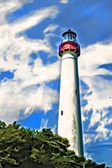 Artistic Lighthouse-Cape May 6-0 F LR 9-25-15 J329 (sunspotimages) Tags: lighthouse artwork artistic places impressionism capemay impressionist digitalmanipulation