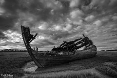 Fleetwood Wreck (wiganworryer) Tags: keith gibson wiganworryer canon 6d full frame 2016 photo photography image picture 16 35 f4 is zoom lens wide angle l series hdr boat sea sand beached wreck abandoned decay decaying fleetwood north west coast estuary marsh nature reserve wrecks lancashire fylde river wyre old fishing vessels outdoor mono black white blackandwhite bw monochrome photos