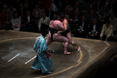 Two sumo wrestlers fighting at the ryogoku kokugikan arena, Kanto region, Tokyo, Japan (Eric Lafforgue) Tags: people male men sport japan horizontal asian japanese tokyo big fight referee asia fighter power martial wrestling fat traditional champion culture traditions lifestyle competition clash ring east indoors tournament ritual leisure sumo inside strength fullframe athlete adults wrestlers adultsonly cultural obese overweight ryogoku 3people competitors kantoregion threepeople colourpicture 2029years japan161062