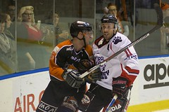 'I think she fancies you' (Toky, Lily and George moments) Tags: action icehockey melbourne docklands icehouse sportsphotography aihl sydneybears australianicehockeyleague melbournemustangs obrienarena