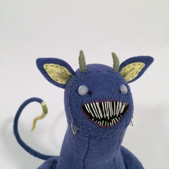 face (MelissaSueArt) Tags: plush handmade tootsiemonster horror embroidery monster creature purple amethyst designertoy arttoy fauxtaxidermy stuffed stitched teeth claws nightmare softie