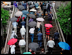 NYC 2016 X100S B 059 (Street X Shooter) Tags: street city newyorkcity urban color rain umbrella candid streetphotography commuter fujifilmx100s