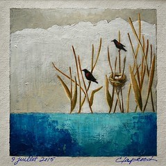 9 juillet 2015 - July 9, 2015 (marieclaprood) Tags: art illustration painting acrylic acrylicpainting marieclaprood claprood dailypainting water lake surrealist originalart wildlife landscape birds nest nature drawing
