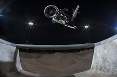 Dravin Hallford table over channel at Mohawk (KyleKisling) Tags: d700 nikon nikond700 shootnikon action actionsports actionphotography bmx bmxphotography skatepark strobes strobist pocketwizards tokina1017mm tokina
