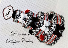 Damask Baby Diaper Cake Shower Gift Centerpiece (2) (Dianna's Diaper Cakes) Tags: baby diaper cakes shower centerpieces gifts boys girls neutral diannas decoration