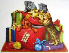 Return to Santa (Tom Wood) (Leonisha) Tags: puzzle jigsawpuzzle shapedpuzzle formpuzzle cat chat katze ktzchen kittens dog hund weihnachten weihnacht weihnachtsgeschenke christmas presents