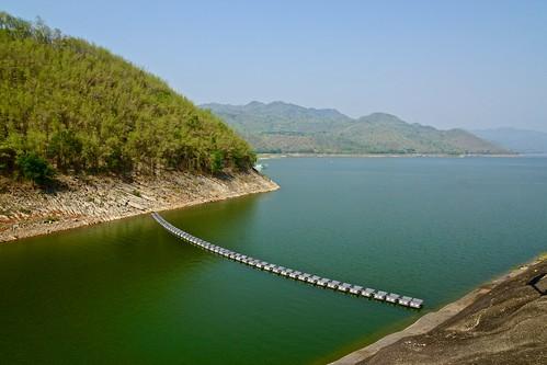 Srinakarin lake near the dam in Kanachanaburi province, Thailand