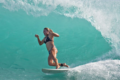 Touch & Go (RicoLeffanta) Tags: ocean sport surf board tube barrel tunnel surfing rico bikini surfboard blonde surfette surfeuse leffanta