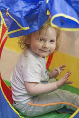 Fun in tent :-) (Agnieszka Malik) Tags: playing fun happy child play imagination crawling rolling birthdaypresent 3yearold childportrait