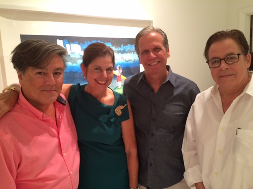 Collectors Tony Ransola, Liliana and Emilio Calleja with Victor Ruggiero at the TUB gallery opening for Sandra Ramos