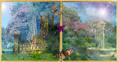The Castle in Spring (virtually_supine) Tags: fountain birds collage photomanipulation diptych blossoms creative butterflies textures montage layers hss highclerecastle compositeimage gardeninspring sliderssunday photoshopelements9 kreativepeopletreatthis81 sourceimagesbylovettshoot impressionistictreatment pse9effectspaintdaubslensflare distortedproportionsandperspectives