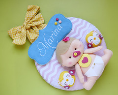 Guirlanda da Marina (Meia Tigela flickr) Tags: baby passarinho pssaro felt guirlanda porta beb quarto nome manual feltro menina decorao maternidade bordado enfeite quartinho personalizada