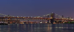 Cables to Brooklyn (beanhead4529) Tags: nyc newyorkcity bridge panorama brooklyn manhattan financialdistrict brooklynbridge manhattanbridge eastriver bluehour suspensionbridge lowermanhattan williamsburgbridge
