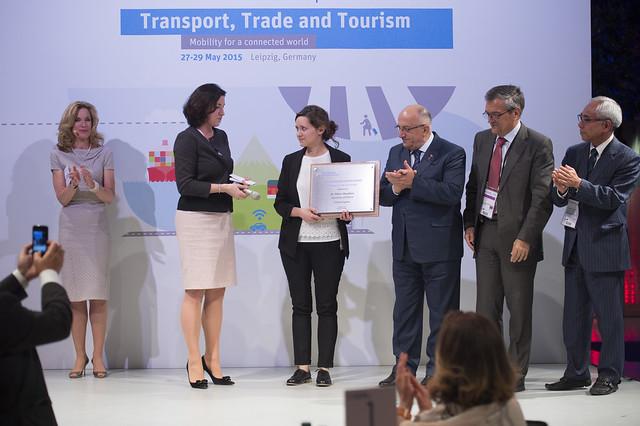 Dr. Nihan Akyelken accepting her Award