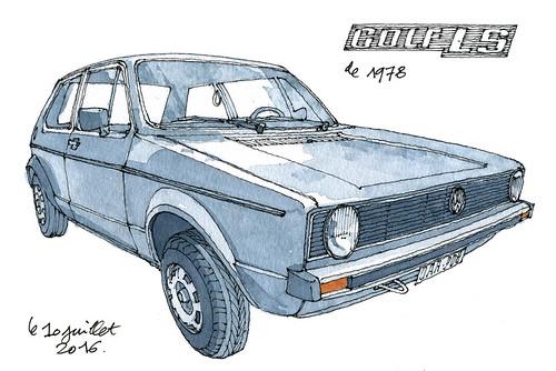 Golf LS 1978 (gerard michel) Tags: auto vw golf sketch aquarelle watercolour croquis