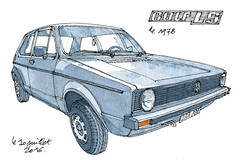 Golf LS 1978 (gerard michel) Tags: auto vw golf sketch aquarelle watercolour croquis