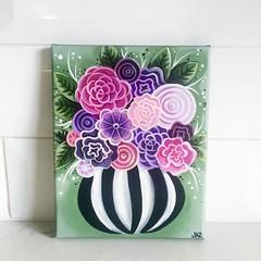 """Whimsical Flowers"" original painting by Jaz Higgins (Jaz Higgins) Tags: pink flowers original art floral painting whimsy artist purple stripes jasmine australian brisbane canvas higgins jaz whimsical blackandwhitestripes"