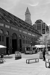 Boston Marriott Long Wharf (oxfordblues84) Tags: sky blackandwhite bw building brick tower boston architecture hotel massachusetts clocktower customhouse bostonmassachusetts outdoorclock bostonmarriottlongwharf
