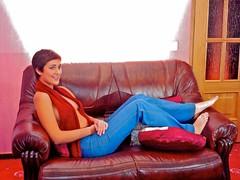 Knit Scarf (stillphototheater) Tags: anna beautifulwoman bluejeans film jeans lovelylady modest prettygirl scannedandedited scarf stillphototheater topless vladimirrussia