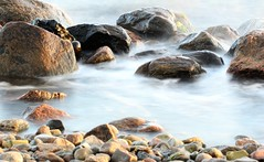 In good company (kimblomqvist) Tags: nature ocean sea water seashore seascape rock rocks beach longexposure blue mist misty shoreline shore aqua mar natura azul playa plage eau bleu canon canonphotography canon60d 100mm