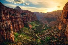 Zion Canyon Overlook Sunset (Bartfett) Tags: road park light sunset sky cliff sun green beautiful landscape utah twilight highway mt dusk tunnel canyon cliffs caramel national zion walls overlook canyons