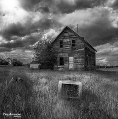 Target Practice - BW (Pat Kavanagh) Tags: saskatchewan canada prairies prairie abandonedhouse abandoned tv targetpractice homestead farmhouse black white