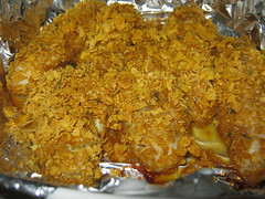 Chicken Coated In Corn Flakes. (dccradio) Tags: lumberton nc northcarolina robesoncounty food eat meal supper dinner chicken coated baked aluminumfoil cornflakes seasoning