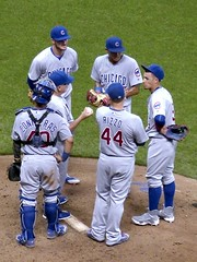 Coaching Moment (Ken Mattison) Tags: people baseball cubs chicagocubs millerpark milwaukee wisconsin panasoniclumix fz200 ballgame
