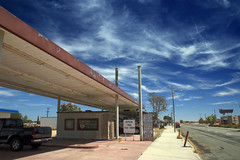 Boron Service (Dill Pixels (THE ORIGINAL)) Tags: boron california desert town servicestation gasstation sky clouds building street sidewalk perspective vanishingpoint truck sign deserted empty
