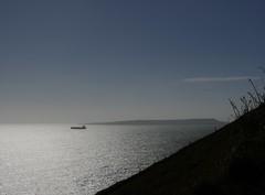 Waiting (Compactman) Tags: dorset coast coastline ship serene floating silhouette panasonic lumix g7 sea blue sky sunlit