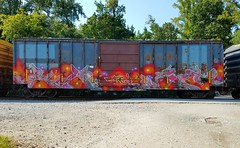 DREW & HEAT (BLACK VOMIT) Tags: graffiti heat drew tci boxcar box car freight train