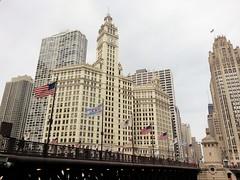 Wrigley Building - Chicago, IL_20150319_122933 (4) (Wampa-One) Tags: architecture buildings flag flags wrigleybuilding chicagoil michiganavenuebridge flagofchicago dusablebridge