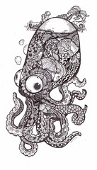 octo-doodle (artyshroo) Tags: fish doodle octopus penink shroo zentangle wwwartyshrooblogspotcouk artyshroo