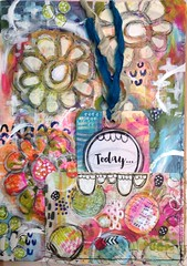 Art Journal Page by Roben-Marie Smith (Roben-Marie) Tags: flowers colorful mixedmedia sewing tag layered stenciled artjournaling doodled robenmarie texturepaste artpops arttothe5th