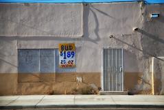 W o W (Maureen Bond) Tags: bud wow desert hot movealong deal bargain ca maureenbond sign poster store