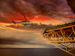 The Way Home (Rodrigo Neves) Tags: sunset offshore oilrig seadrill seascape mar crane chopper helicopter sealife
