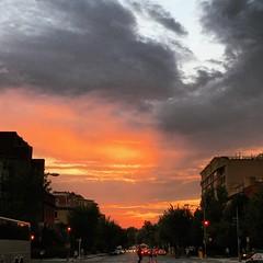 summer sunset (ekelly80) Tags: dc washingtondc july2016 dupontcircle sky sunset sun light clouds colors eveninglight orange