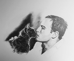 Marlon and cat. Graphite. (deniseclark4) Tags: black art cat kiss drawing brando marlon graphite