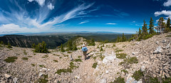 Snowy Mountains Descent (john.c.arnold) Tags: sky panorama mountains montana hiking snowy eastern cluds