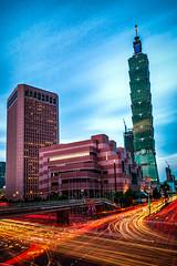 Busy world (hamzaqayyum) Tags: city buildings architecture lighttrails longexposure taipei busy cars urban