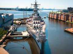 Norfolk VA - Battleship Wisconsin (Sky Noir) Tags: wisconsin virginia us ship norfolk navy vessel 64 va battleship docked largest hamptonroads nauticus tidewater