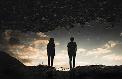 upside down (mrnnw) Tags: upsidedown reflection water clouds girl boy silhouette silhouettes sunset golden hour