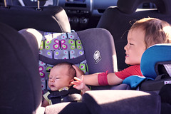 Patting little sister (Scott SM) Tags: old 2 two baby car one 1 big toddler ride little sister brother seat pat year first carseat 25 newborn month