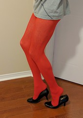 Red tights with heels (doverlt) Tags: feet legs tights heels redtights heelpopping