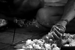 Incense Ritual (Mainak Roy Camerawork) Tags: smoke ritual mahalaya incense monochrome black white india festival puja 600d canon